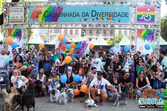 圣保罗市中心举行狗游行 据称为同性恋者大游行预演