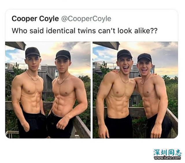 谁说同卵双胞胎不像呢?颜值太高,身材肌肉完美